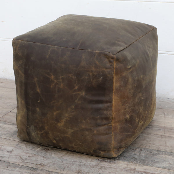 OLD WORLD LEATHER OTTOMAN - decorstore