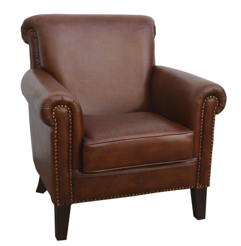 Parlour Chocolate Leather Armchair - decorstore