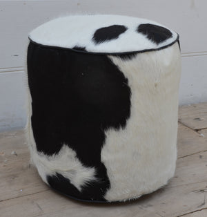 Round cowhide stool - decorstore