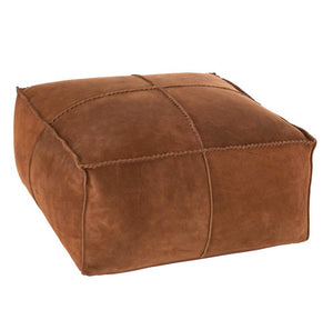Brown Suede texture 'Tray' Leather Ottoman - decorstore