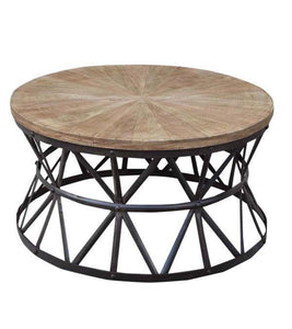 ROUND HANDMADE WROUGHT IRON WEDGE COFFEE TABLE - decorstore