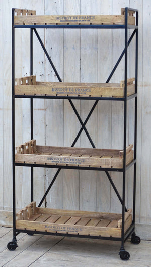Vintage Crate Bookcase On Wheels - decorstore