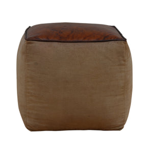Polo Canvas And Leather Square Ottoman - decorstore