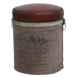 French Canvas Leather Perfume Ottoman - decorstore