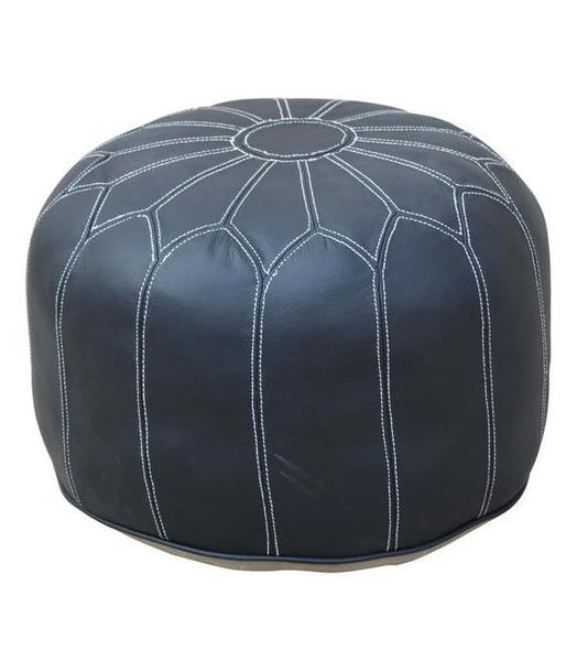 Black Bloom Leather Ottoman - decorstore