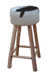 Cowhide Hardwood Bar Stool - decorstore