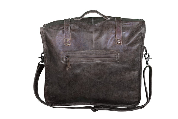 DOUBLE POCKETED LEATHER SATCHEL - decorstore