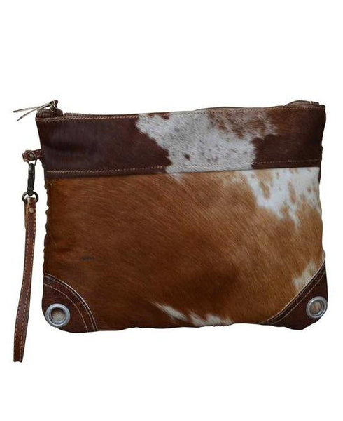 Cowhide Peep Zip Clutch Bag - decorstore