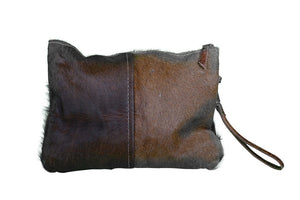 Duo Cowhide Zip Clutch Bag - decorstore