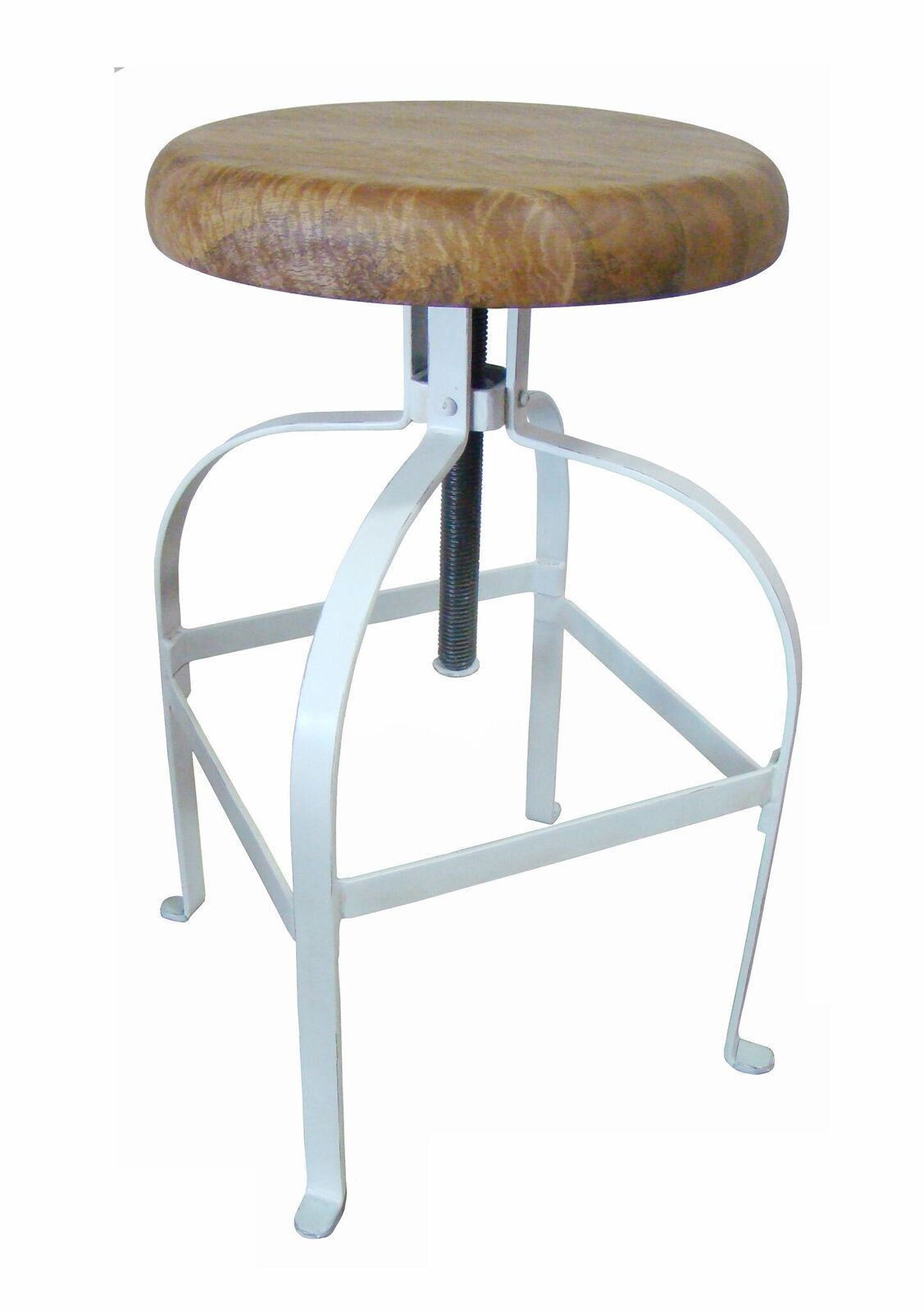 Mango Timber Top Industrial Bar Stool-White - decorstore