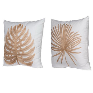Set/2 Embroidered Dried Leaves Cushion Duo - decorstore