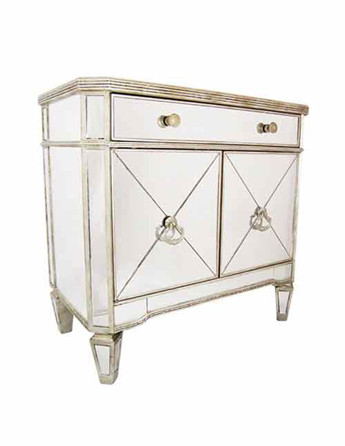 Mirrored Antique Ribbed 1 Drawer 2 Door Cabinet - decorstore