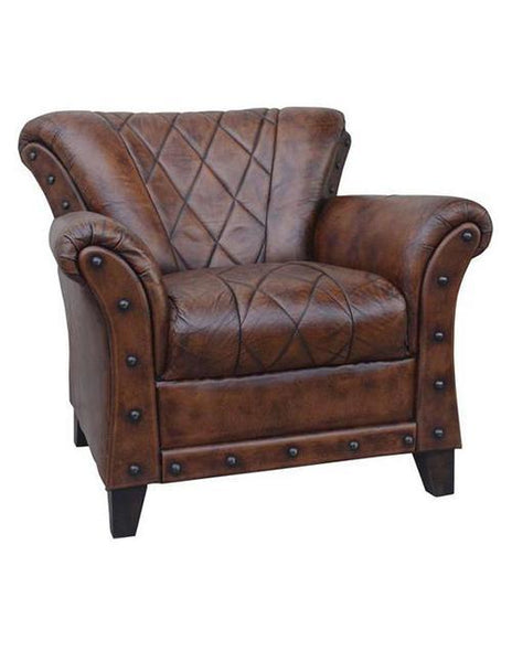 Criss Cross Chocolate Leather Arm Chair - decorstore
