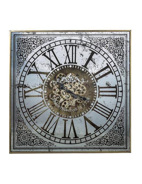 SQUARE MIRROR WALL CLOCK - decorstore