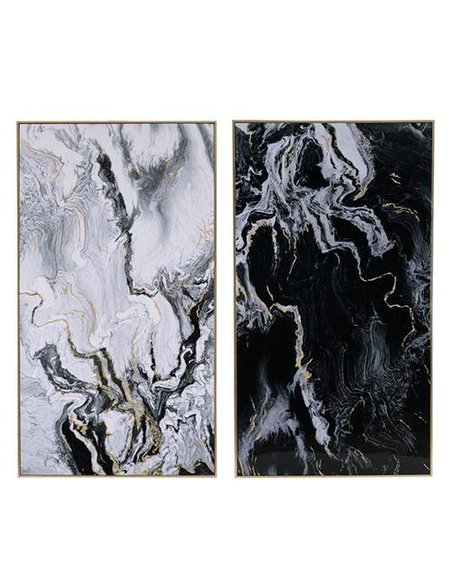 Marbled Print Wall Art Set Of 2 Long - decorstore