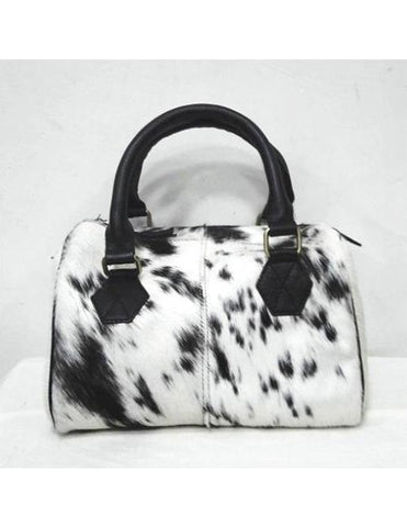 COWHIDE SHORT HANDLED HANDBAG - decorstore