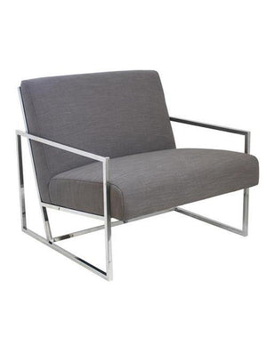 Jaxson Armchair Grey Modern Chrome Legs - decorstore