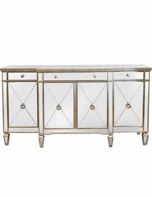 Mirrored Sideboard Antiqued Ribbed - decorstore