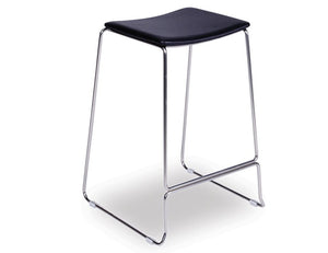 Ardor Stool - Brushed Steel - Black Pad - decorstore