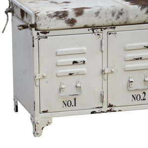 Cowhide Locker Lounge Seat - decorstore