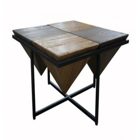 Triangle Mango Wood Coffee Table With Metal - decorstore