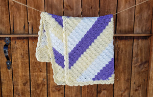 Crochet Baby Girl Blanket - Yellow, Purple, White
