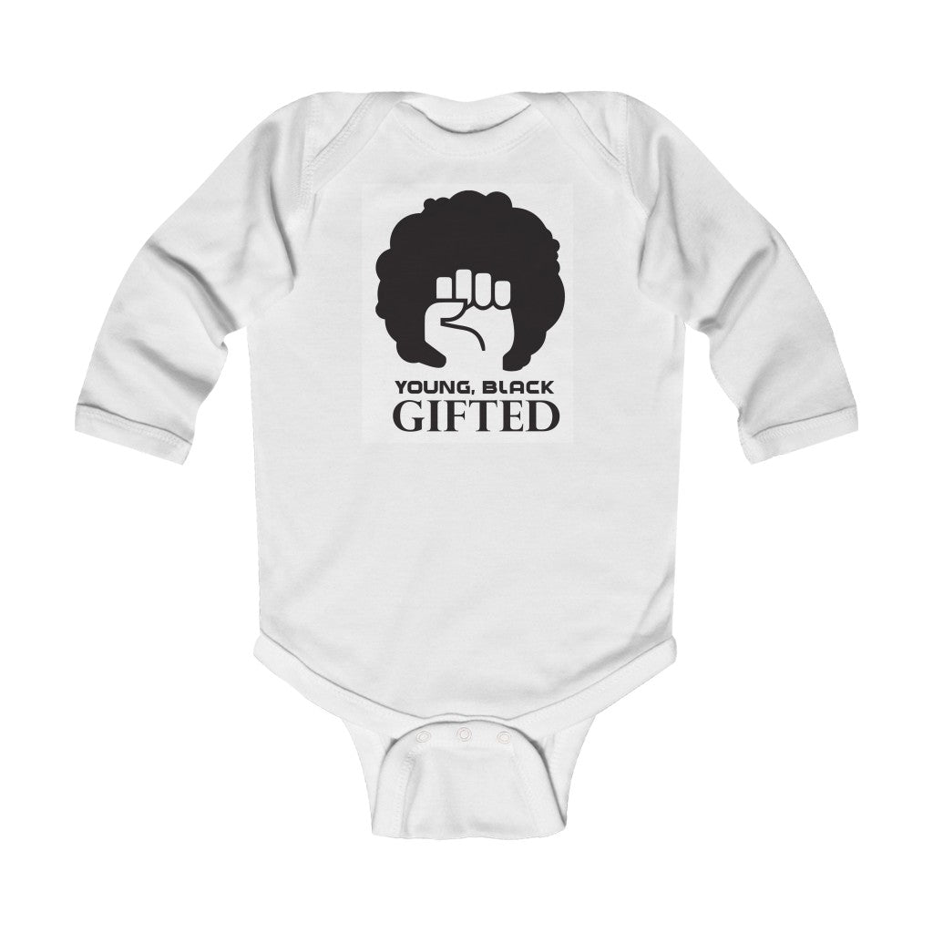 YBG Collection QUEEN Infant Long Sleeve White Bodysuit