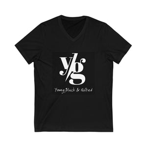 YBG Collection Unisex Jersey Short Black Sleeve V-Neck Tee