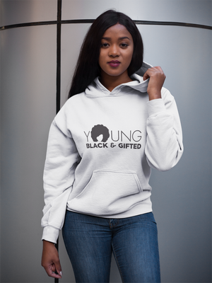 Fashionable Women's- YBG Hooded White Sweatshirt