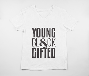YBG Collection Unisex Jersey Short Sleeve V-Neck BlackTee