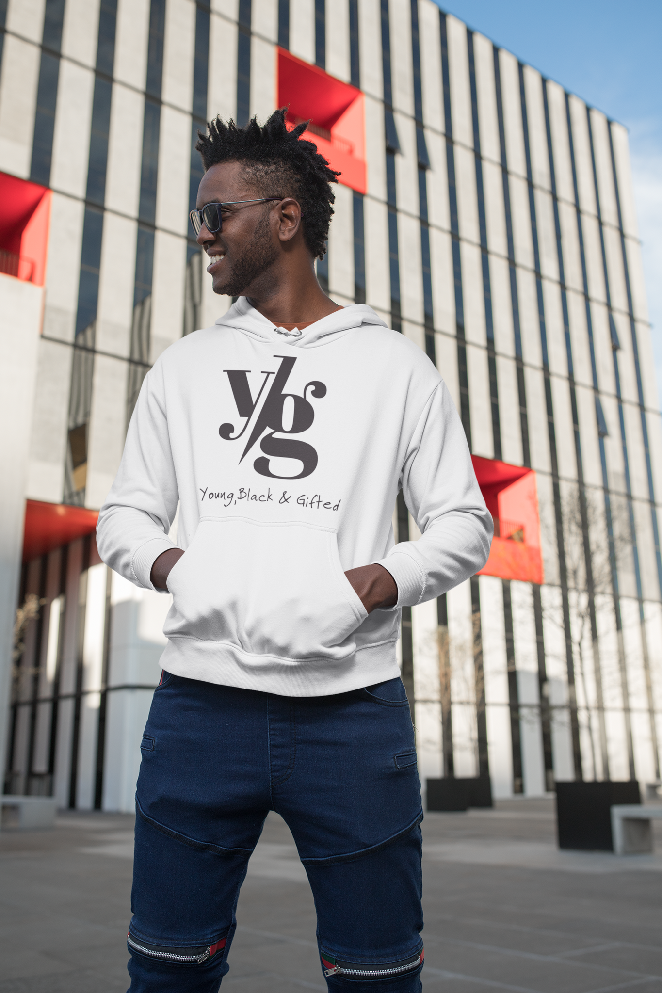 LIMITED - UNISEX YBG Hooded White Sweatshirt
