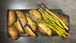 Campfire roasted potatoes and asparagus