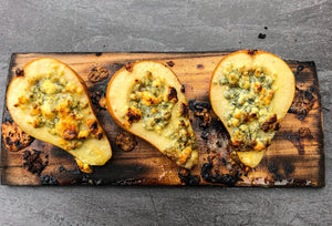 Champagne Infused Cedar Plank Roasted Pear with Blue Cheese