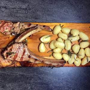 Lamb Chops and Gnocchi on Chardonnay Infused Cedar Planked