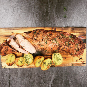 Ginger-Marinated Pork Tenderloin on Bourbon infused Cedar Plank