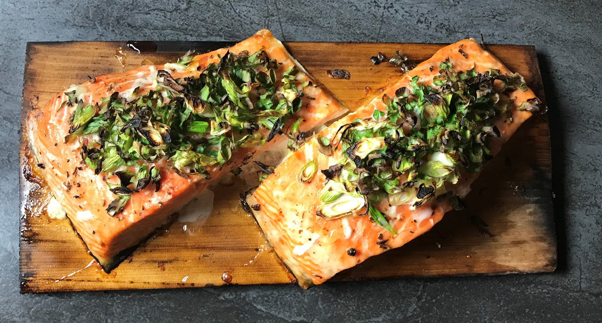 Salmon with Scallions on Chardonnay Infused Cedar Plank