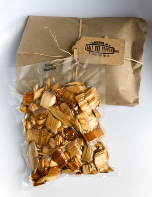 Cedar Smoking Chips PRE-SOAKED in Bourbon and READY to USE