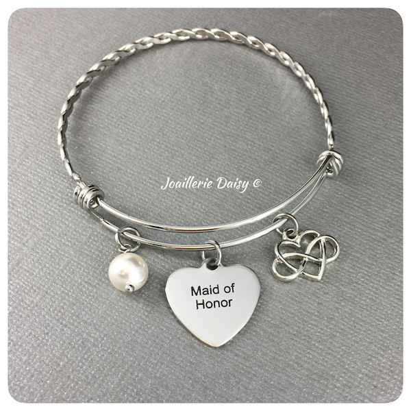 Maid of Honor Bangle Bracelet with Swarovski Pearl