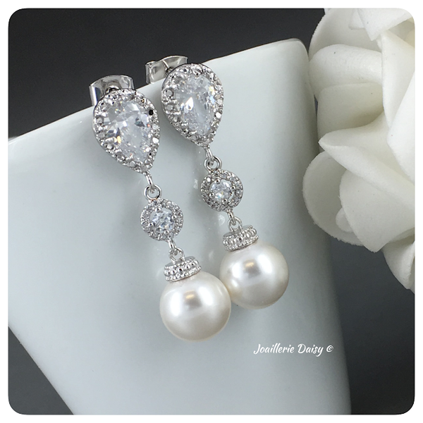 Swarovski Pearl with Cubic Zirconia Long Earrings