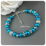 Turquoise Pearl and Crystal Bridal Party Jewelry Set