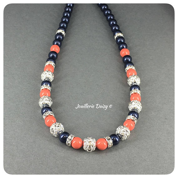 Swarovski Night Blue and Coral Pearl Rhinestones Single Strand Necklace