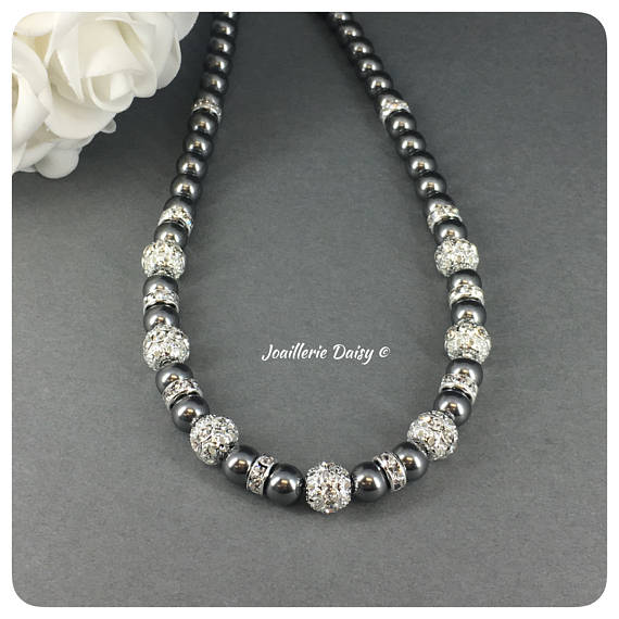 Swarovski Dark Gray Pearl Rhinestones Single Strand Necklace