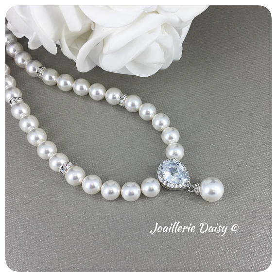 Swarovski White Pearl Cubic Zirconia Single Strand Necklace
