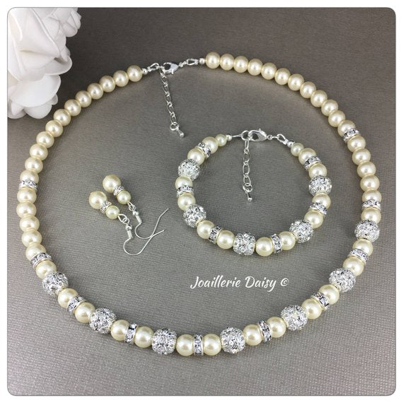 Cream Pearl and Rhinestones Necklace Bridal Party Jewelry Set