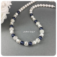 Swarovski White and Night Blue Pearl Rhinestones Single Strand Necklace