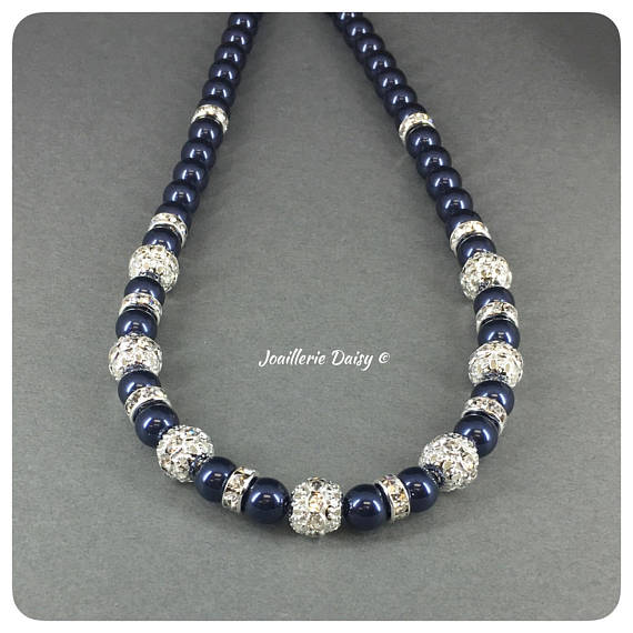 Swarovski Night Blue Pearl Rhinestones Single Strand Necklace