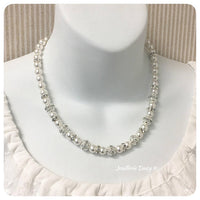 Swarovski White Pearl Rhinestones Single Strand Necklace