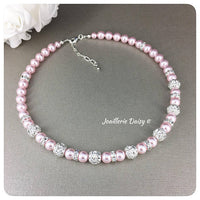 Swarovski Rosaline Pearl Rhinestones Single Strand Necklace