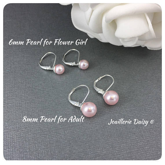 Swarovski Rosaline Pink Pearl Leverback Stud Earrings