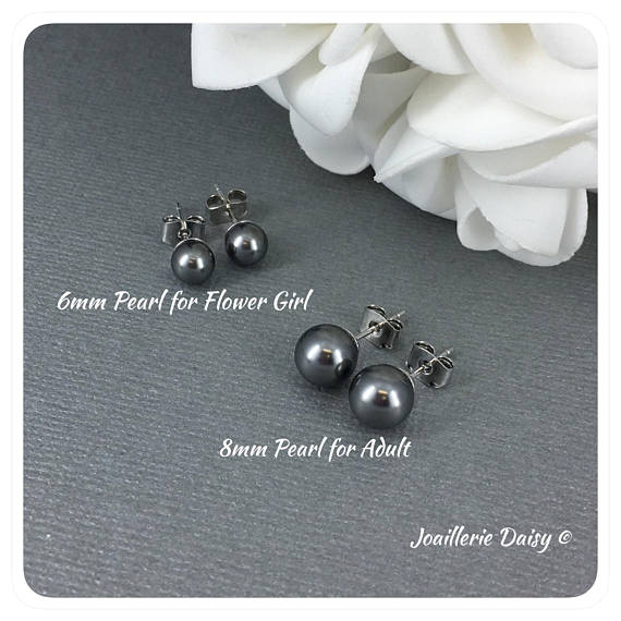 Swarovski Dark Grey Pearl Stud Earrings